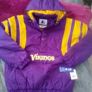 STARTER Jackets & Coats - Vintage Starter Half Zip Pullover Jacket Vikings